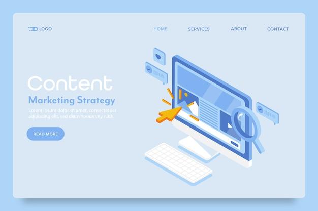 Page de destination de la stratégie de marketing de contenu