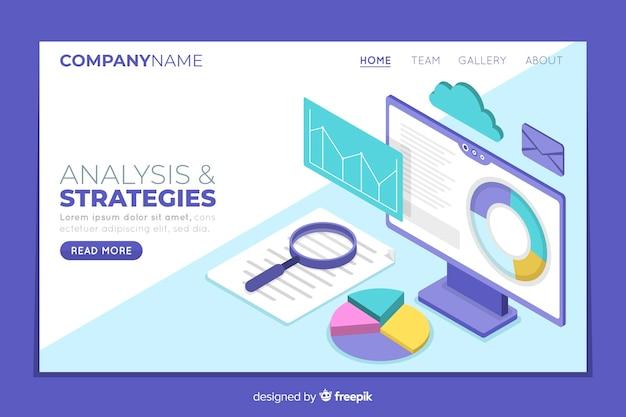 Page de destination des stratégies commerciales isométriques