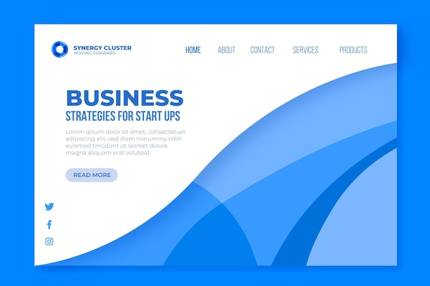 Page de destination des stratégies commerciales