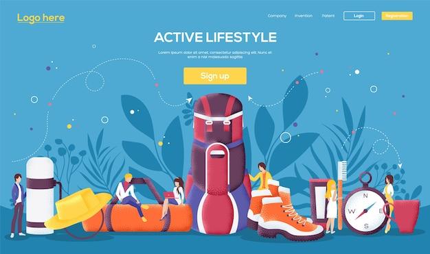 Page de destination de style de vie actif