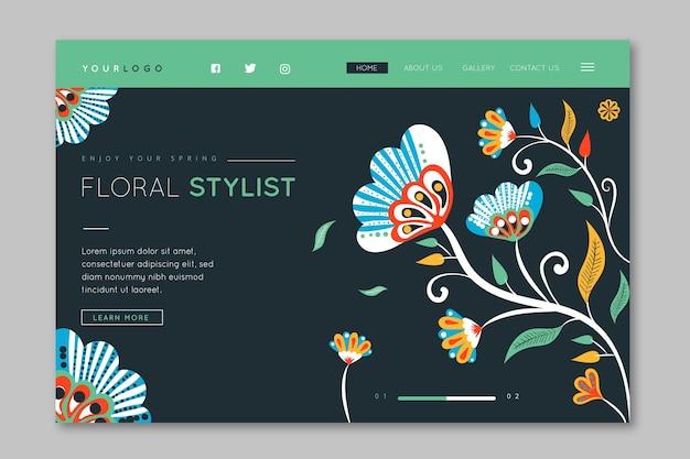 Page de destination de styliste floral dessiné à la main