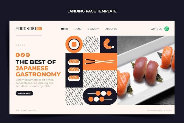 Page de destination de sushi design plat