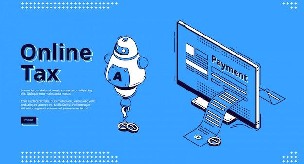 Page de destination de la taxe en ligne, paiement numérique intelligent