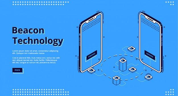 Page de destination de la technologie des balises avec smartphone