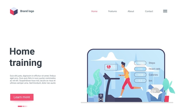 Page de destination de la technologie d'entraînement au sport sain à domicile fonctionnant sur un équipement de tapis roulant de gym