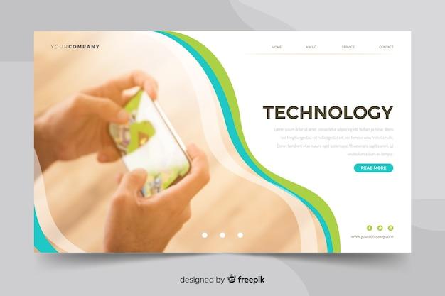 Page de destination de la technologie minialist avec photo de personne