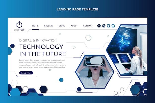 Page de destination de technologie minimale de conception plate