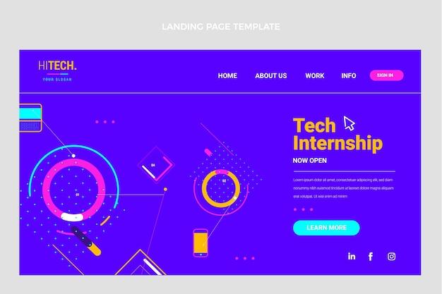 Page de destination à technologie minimale plate