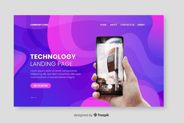 Page de destination de la technologie avec photo