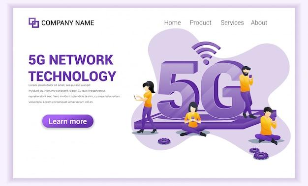 Page de destination de la technologie réseau 5g
