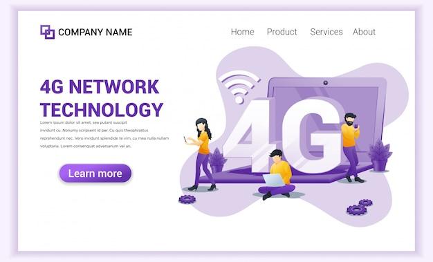 Page de destination de la technologie sans fil réseau 4g.