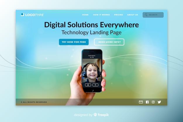 Page de destination de la technologie des solutions numériques