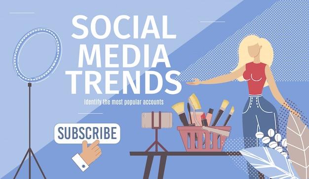 Page de destination des tendances des médias sociaux
