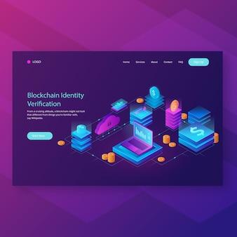 Page de destination de l'en-tête blockchain
