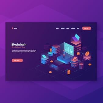 Page de destination de l'en-tête de dégradé de blockchain