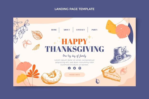 Page de destination de thanksgiving design plat dessiné à la main