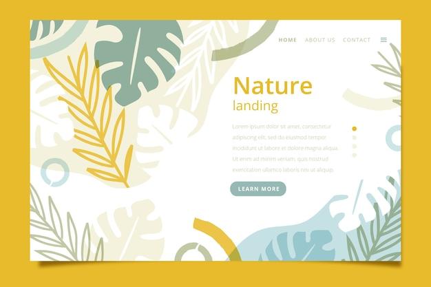 Page de destination avec thème nature
