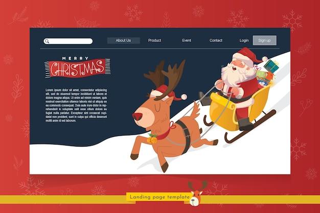 Page de destination avec le thème de noël santa promenades en traîneau avec illustration de cerf volant