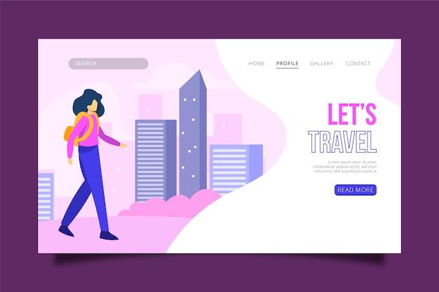Page de destination sur le thème des voyages illustrés