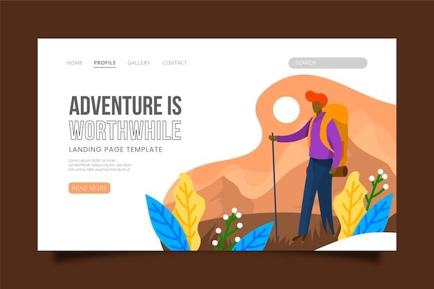 Page de destination sur le thème des voyages
