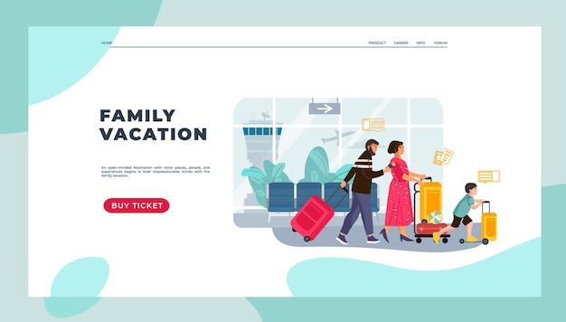 Page de destination des touristes. famille en vacances avec enfants et bagages, personnages heureux homme et femme partant en voyage. image vectorielle vacances page web de voyage