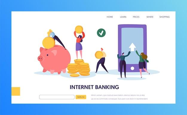 Page de destination de transfert de paiement mobile internet banking.