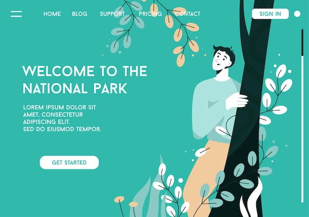Page de destination de vecteur de bienvenue au concept de parc national
