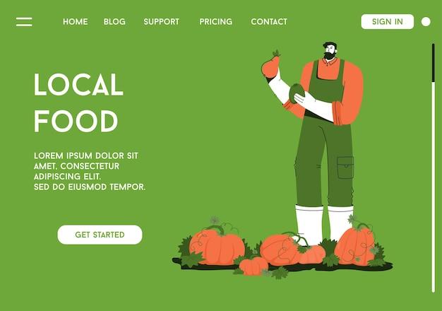 Page de destination de vecteur du concept de nourriture locale