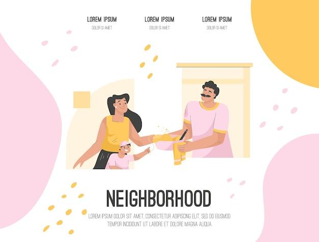 Page de destination de vecteur du concept de quartier