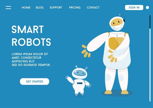 Page de destination de vecteur du concept de robots intelligents