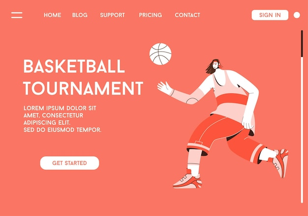 Page de destination de vecteur du concept de tournoi de basket-ball