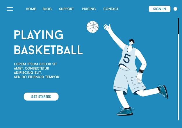 Page de destination de vecteur de jouer au concept de basket-ball