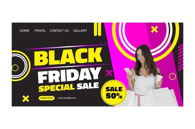 Page de destination de vendredi noir femme modèle