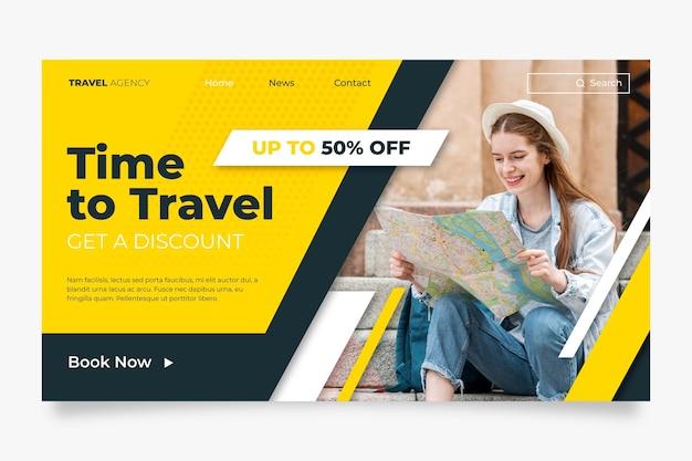Page de destination de vente itinérante avec photo