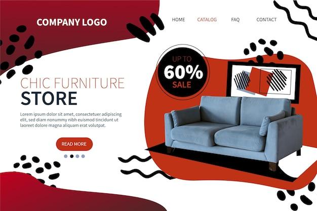 Page de destination de vente de meubles dégradé avec photo