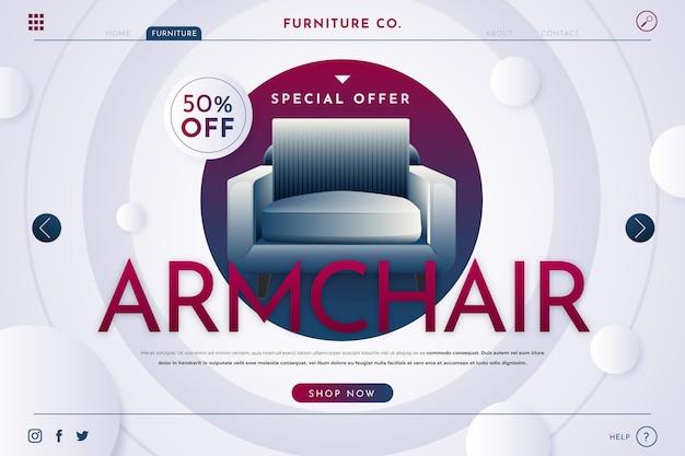 Page de destination de la vente de meubles dégradés