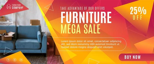 Page de destination de vente de meubles plats organiques avec photo