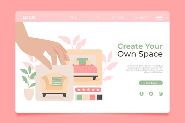 Page de destination de la vente de meubles plats organiques