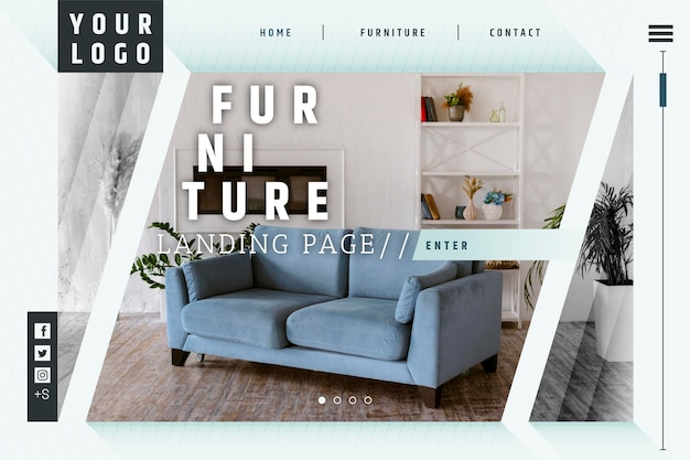Page de destination de la vente de meubles plats