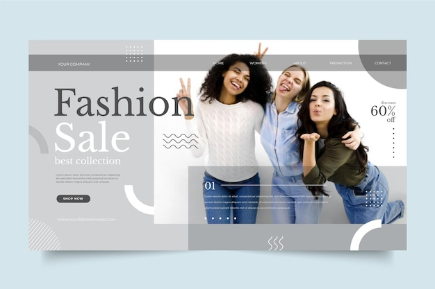 Page de destination de vente de mode desing