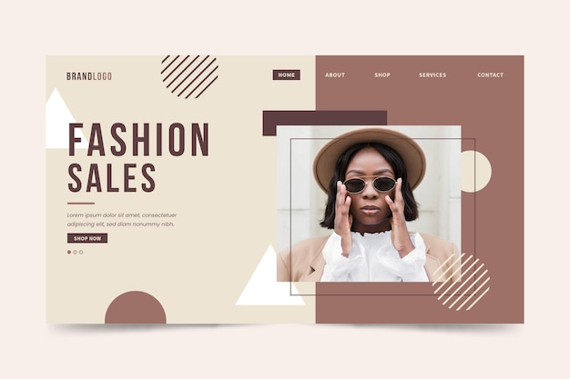 Page de destination de vente de mode femme avec chapeau et lunettes