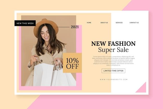 Page de destination de vente de mode femme mignonne