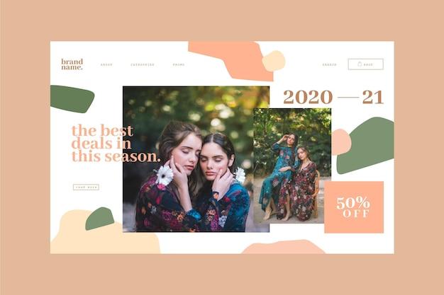 Page de destination de vente de mode avec photo