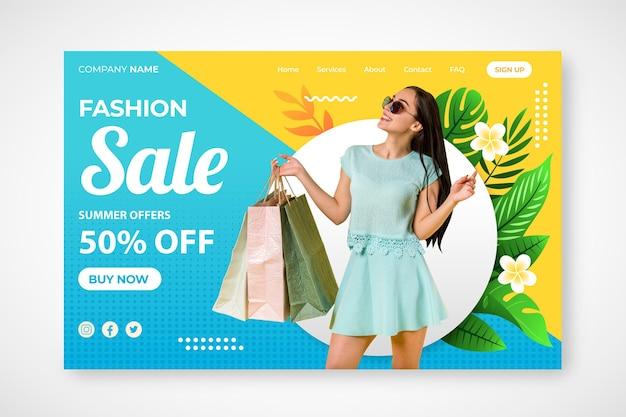 Page de destination de vente de mode