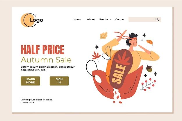 Page de destination de vente de personnes d'automne