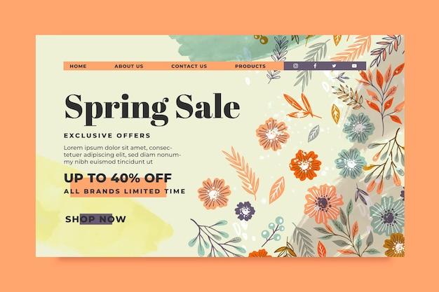Page de destination de la vente de printemps dessinée à la main