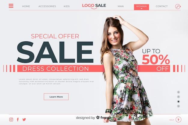 Page de destination de vente spéciale avec photo