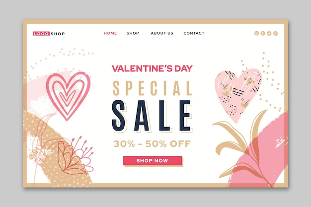 Page de destination de la vente spéciale de la saint-valentin