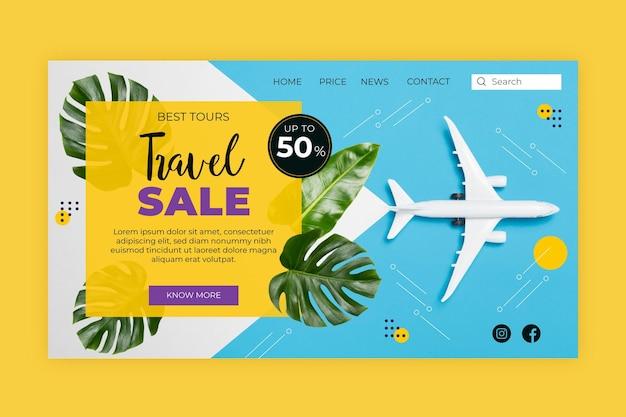 Page de destination de la vente de voyages avec image