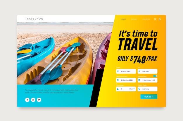 Page de destination de la vente de voyages avec photo